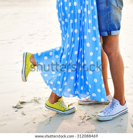 ca63933e066b Romantic Young Hipster Couple Holding Hands Stock Photo (Edit Now ...