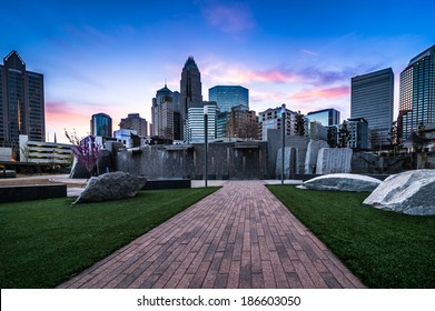 Romare-Bearden park in uptown Charlotte, North Carolina at sunrise