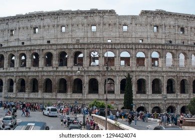 Roma,RM,IT-may 28 2018: Tourists in Rome in front of the Colosseum