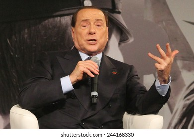 Rome, 14 January 2015: Silvio Berlusconi arrives at Divine Love welcomed by many fans, spoke at the event I Love Italy, January 14, 2015, Rome, Italy