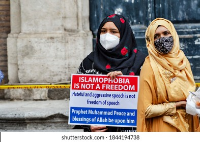 Rome 30 october 2020: Members of an Italian Muslim association stage a sit-in and prayer to condemn what they see as persecutory acts against the Islamic community in France.