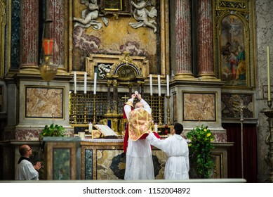 Rome - 7 September 2017 - celebration of the Holy Mass vetus ordo, Mass in Latin, in the days of the pilgrimage summorum pontificum decennial.