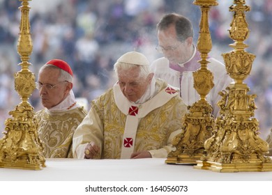 ROME - APR 2011: Pope Benedict XVI during Mass in St Peter's Square, the Vatican, on Easter Sunday - 24th April 2011