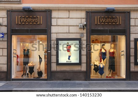 ROME - APRIL 10: Window view of Wolford store on April 10, 2012 in Rome, Italy. The company founded in 1949 employs 1700 people (2011) and is one of most recognized lingerie and hosiery brands today.