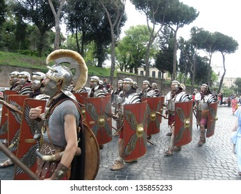 ROME  APRIL 21: Birth of Rome festival, parade of 2,000 re-enactors from 53 associations from da11 European countries. Italy, 21 April 2013, Rome
