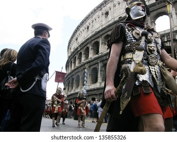 ROME - APRIL 21: Birth of Rome festival, parade of 2,000 re-enactors from 53 associations from da11 European countries. Italy, 21 April 2013, Rome