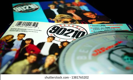 Rome, April 22, 2019: Cd OST fo the American teen drama television series created by Darren Star, BEVERLY HILLS 90210. The series ran for ten seasons on Fox from October 4, 1990, to May 17, 2000