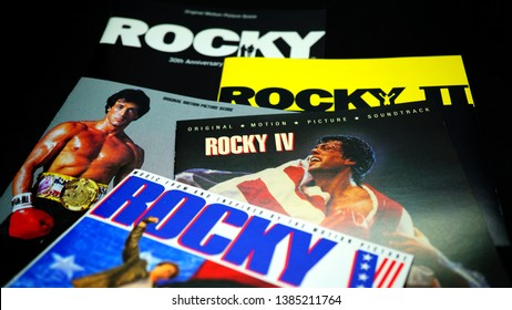 Rome, April 29, 2019: Cd covers of the American sports boxing movie series Rocky. The series has grossed more than $1.7 billion at the worldwide box office
