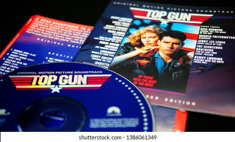 Rome, April 29, 2019: CD of the soundtrack of the 1986 film by Tony Scott, TOP GUN. one of the most popular soundtracks to date, reaching 9× Platinum certification and #1 on the Billboard Hot 200