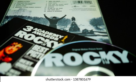 Rome, April 29, 2019: Cd covers of the American sports boxing movie ROCKY. Special edition for the thirtieth anniversary of the first 1976 film that launched Sylvester Stallone