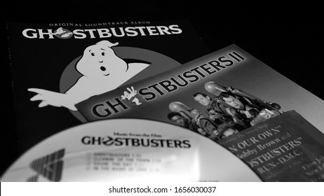 Rome, April 29, 2019: CD of the soundtracks of the first two films GHOSTBUSTERS. It grossed $ 295 million worldwide, making it the highest grossing comedy film of its time
