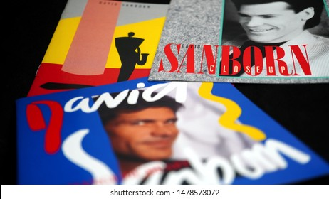 Rome, August 06, 2019: three cd 80s by DAVID SANBORN. American saxophonist, virtuoso of the alto sax. In his more than ten-year career, Sanborn has released 24 albums, won six Grammy Awards