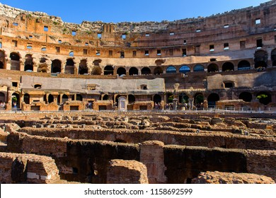 ROME - AUGUST 13, 2018: Interior of the Colosseum or Coliseum, Rome, Italy.