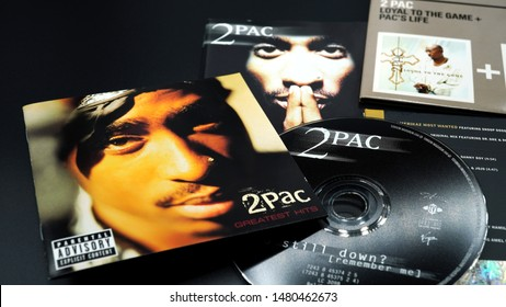Rome, August 16, 2019: Covers of CDs by Tupac Shakur. also known as 2Pac and Makaveli, her double album, All Eyez on Me, released in 1996 became one of the best-selling albums in the United States