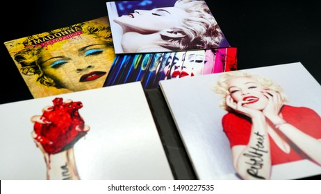 Rome, August 19, 2019: Covers of the cd by MADONNA. It is the artist who placed more music DVDs in the top position in the Billboard album chart in the United States