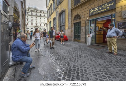 Rome - August 2017: feeling the unique atmosphere, walking along the city streets