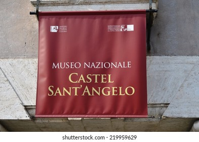 ROME - AUGUST 27, 2014: Sign to the museum Saint Angel Castle, Rome, Italy