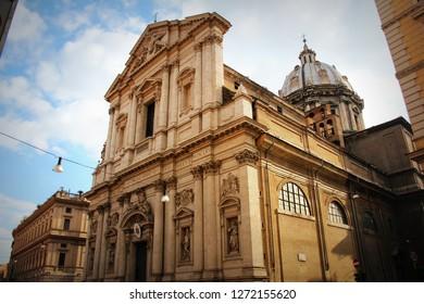 Rome - The baroque portal of church Basilica di Sant Andrea della Valle .