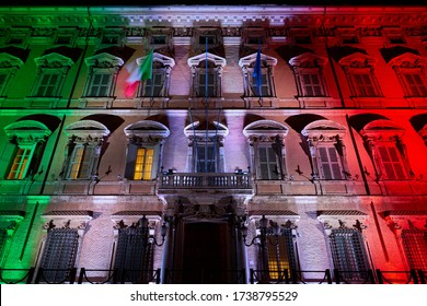 Rome by Night in Coronavirus Times: Italian Senate (Palazzo Madama) Lighted with Italian Flag Colors as a Symbol of Unity during the Covid-19 Outbreak. MAY 22, 2020
