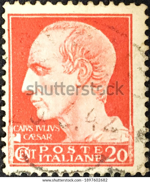 Rome, circa 1929: Italian used postage stamp from the Imperial series with effigy of Julius Caesar