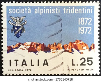 Rome, circa 1972: Italian stamp issued for the centenary of the Tridentine mountaineers company.