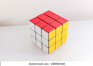 ROME - CIRCA FEBRUARY 2013: Example of successfully solved Rubik's cube, circa February 2013 in Rome. Rubik's Cube was invented by the Hungarian architect Erno Rubik in 1974