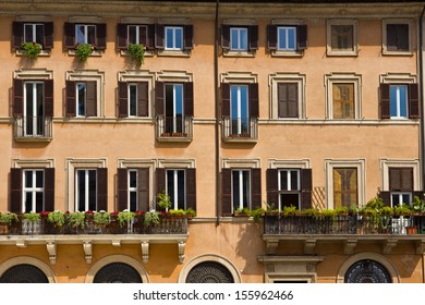 Rome city architecture full of colors on sunny  day in summer