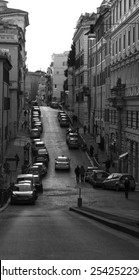 Rome. City landscape. places of Interest. Attractions. View of Rome historic center, Italy  Black-and-white photo.