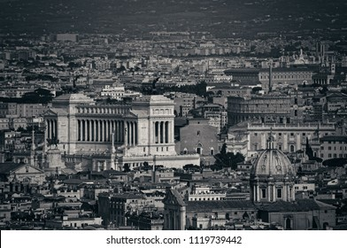 Rome city panoramic view from top of St. Peter's Basilica in Vatican City.