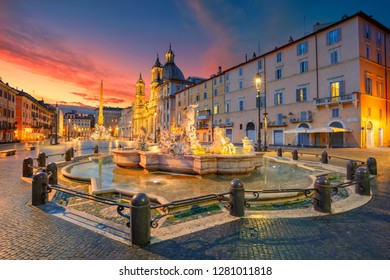 Rome. Cityscape image of Navona Square, Rome with Fountain of Neptune during beautiful sunrise.