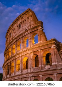 Rome Colloseum at Night Architecture in Rome Italy City Center. Rome Ethernal City Architectural Details.