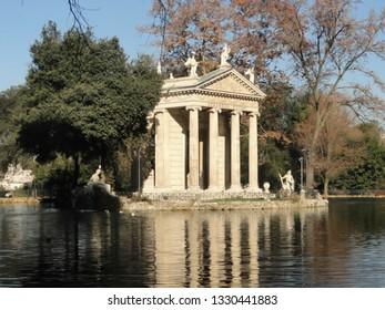 Rome - December 17, 2015. Temple of Aesculapius in the Villa Borghese gardens.