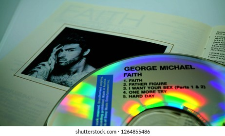 Rome, December 18, 2018: Detail of the Cd edition of the album FAITH, solo debut of the English artist GEORGE MICHAEL. selective focus