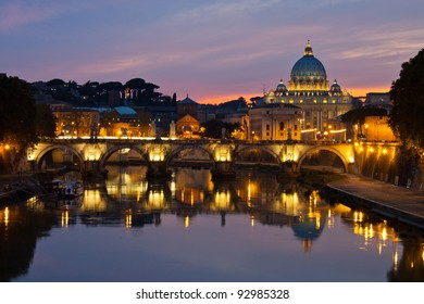 Rome at dusk: Saint Peter's Basilica after sunset.