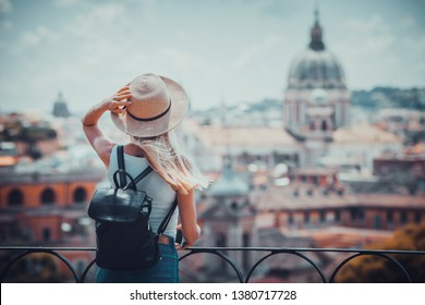 Rome Europe Italia travel summer tourism holiday vacation background -young  girl with camera in hand standing on the hill looking on the cathedral Vatican
