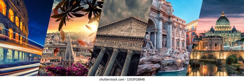 Rome famous landmarks collage.