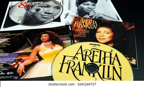 Rome, February 10, 2020: CD and artwork of the icon of gospel, soul and R&B music ARETHA FRANKLIN. she has won twenty-one Grammy prizes, eight of which have been won consecutively