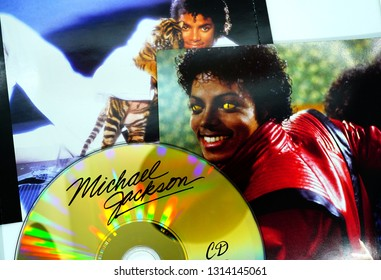 "Rome, February 13, 2019: Collection of CD covers and insert by MICHAEL JACKSON. an American singer, songwriter and dancer. Dubbed the ""King of Pop"""