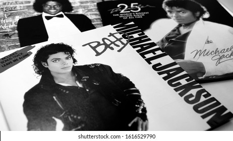 "Rome, February 13, 2019: Collection of CD covers of the first three solo albums by MICHAEL JACKSON. an American singer, songwriter and dancer. Dubbed the ""King of Pop"""