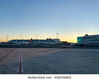 ROME - FEBRUARY 15, 2018: Early morning at Rome Fiumicino Leonardo da Vinci International Airport in Rome, Italy.
