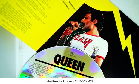 Rome, February 16, 2019: Detail of the CD covers of the Flash soundtrack, by Queen. the rock band of singer Freddy Mercury who died of AIDS in 1991