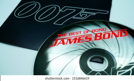 Rome, February 18, 2019: Detail of CDs and artwork of the soundtrack THE BEST OF JAMES BOND. Selection of the best themes with songs by Shirley Bassey, duran duran, Adele