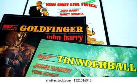 Rome, February 18, 2019: three covers of soundtracks of films of 007 starring Sean Connery. James Bond at the British Secret Service agent created in 1953 by writer Ian Fleming
