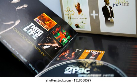 Rome, February 20, 2019: Collection of covers and cd inserts with discography of the hip hop star Tupac Shakur, shot dead in September 1996