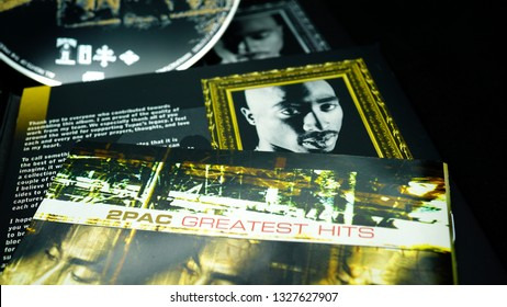 Rome, February 20 2019: Collection of covers and cd inserts of the singer Tupac Shakur, considered by many to be one of the greatest hip hop artists of all time. selective focus