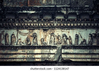 Rome Forum with ruins of historical buildings closeup view with patterns and sculpture. Italy.