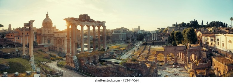Rome Forum sunrise with ruins of historical buildings. Italy.