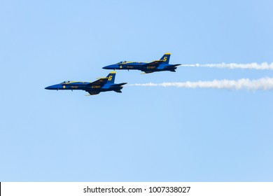 ROME, GA, USA - OCTOBER 20TH, 2017: US Navy flight demonstration squadron Blue Angels performs maneuver at the Wings Over North Georgia airshow.