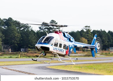ROME, GA, USA - OCTOBER 21ST, 2017: LifeForce helicopter with paramedics on board lands at the Wings Over North Georgia Airshow.