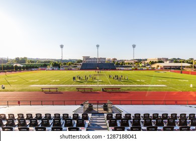ROME, GA, USA - SEPTEMBER 19, 2018: The Historic Barron Stadium, established in 1924, is home to the Shorter University Hawks and Rome High School Wolves for their football and Track & Field sports.